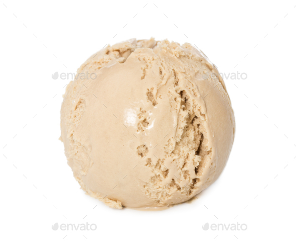 Ball of ice cream creme brulee isolated on white - Stock Photo - Images