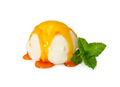 Vanilla ice cream ball with caramel syrup and fresh mint isolate - PhotoDune Item for Sale