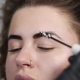 Stylist Makes Eyebrow Correction for Curly Beautiful Woman at the Beauty Salon - VideoHive Item for Sale