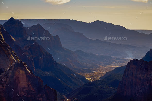 Landscape view of Zion national park valley from Observation point, Utah - Stock Photo - Images