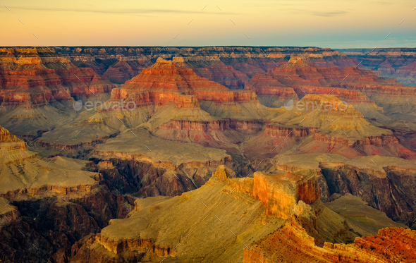 Grand canyon landscape view with dark contrast and beautiful colors - Stock Photo - Images