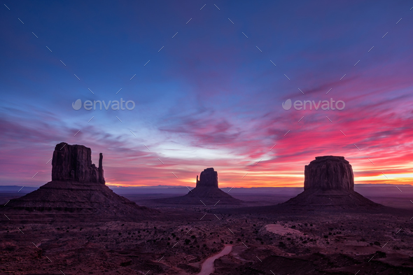 Colorful sunrise landscape view at Monument valley national park, Arizona - Stock Photo - Images