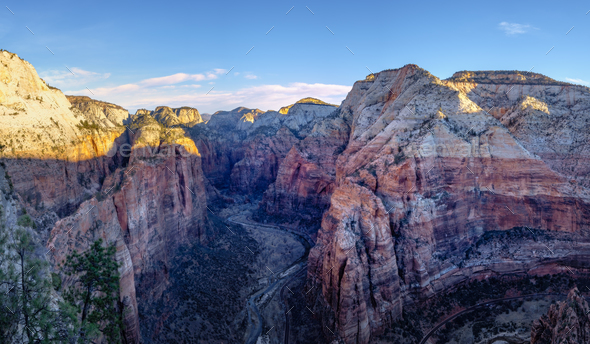 Panoramic view of Zion valley at sunrise, Utah - Stock Photo - Images