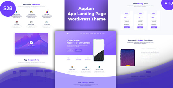 Appton –  App Landing WordPress Theme