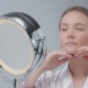 Caucasian Woman with Mirror with Ring Light with No Makeup Look Examine Her Skin and Makes Facial - VideoHive Item for Sale