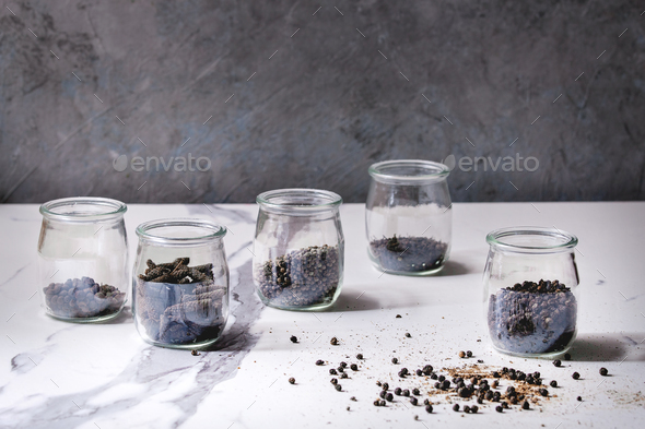 Variety of black peppers - Stock Photo - Images