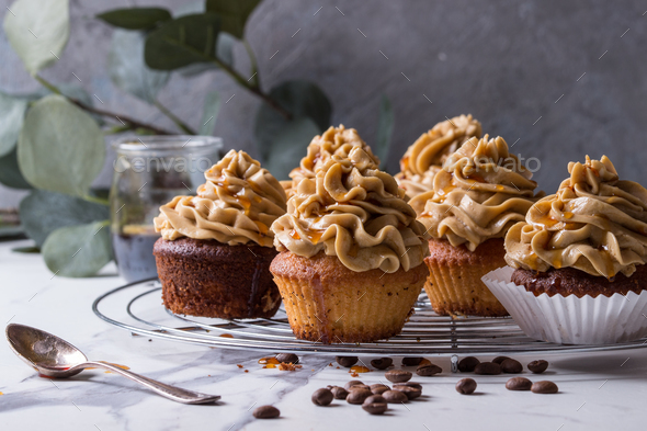 Homemade coffee cupcakes - Stock Photo - Images