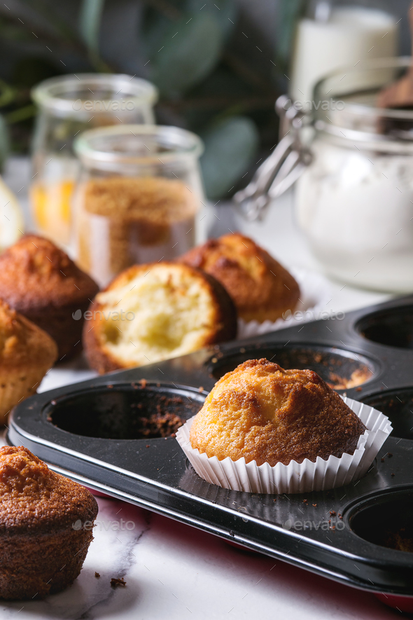 Homemade lemon muffins - Stock Photo - Images