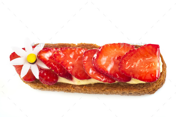 strawberry tartlet in studio - Stock Photo - Images