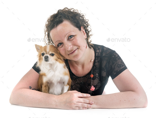 woman and chihuahua - Stock Photo - Images