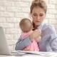 Business Mother Working From Home with Kid. Mother with Child Looking Documents - VideoHive Item for Sale