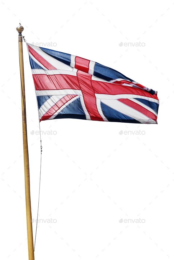 Flag of the United Kingdom isolated on white background - Stock Photo - Images