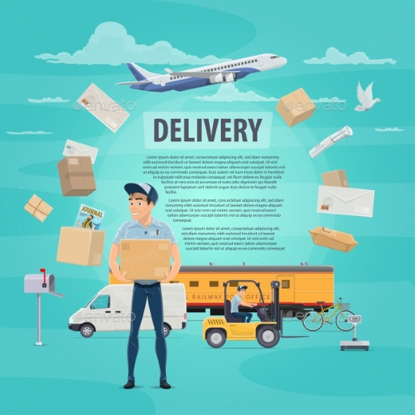 Delivery of Post Mail Service Vector Poster - Services Commercial / Shopping