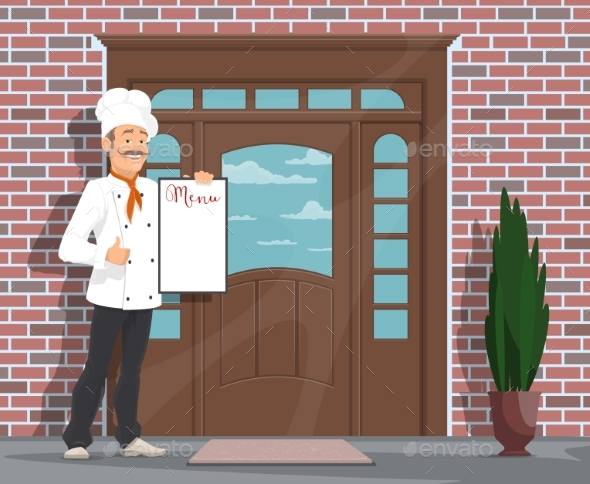 Vector Chef Man with Menu Inviting To Restaurant - People Characters