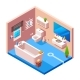 Vector Isometric Modern Bathroom Interior