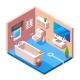 Vector Isometric Modern Bathroom Interior