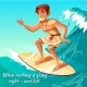 Summer Surfing Boy on Wave Vector Illustration