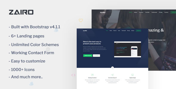Zairo - Multipurpose Bootstrap 4 Landing Page Template - Landing Pages Marketing