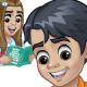 Schoolboy and Schoolgirl Reading a Book