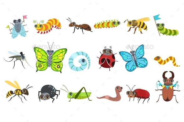 Insect Cartoon Images Set - Animals Characters