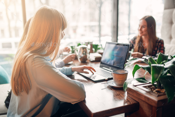 Young girlfriends looks at the goods on laptop - Stock Photo - Images