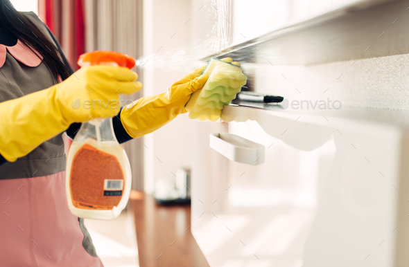 Housemaid cleans furniture with a cleaning spray - Stock Photo - Images