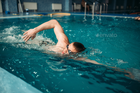 Male swimmer swims on workout in swimming pool - Stock Photo - Images