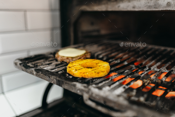 Grilled ingredients for burger cooking, nobody - Stock Photo - Images