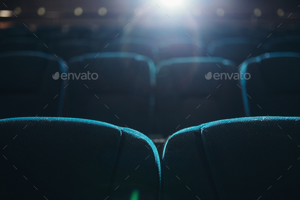 Empty rows of seats in cinema or theater - Stock Photo - Images