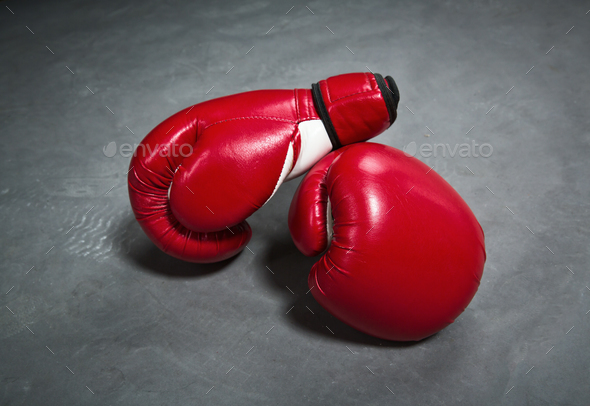 Red boxing gloves, closeup, nobody - Stock Photo - Images