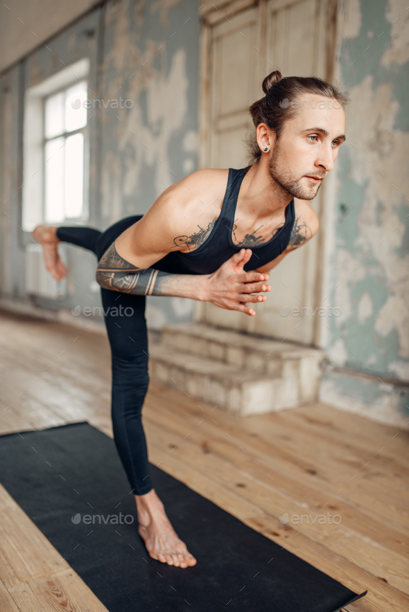 Meditation in yogi studio, full concentration - Stock Photo - Images