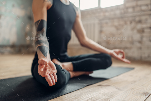 Male yoga, meditation in asana position - Stock Photo - Images