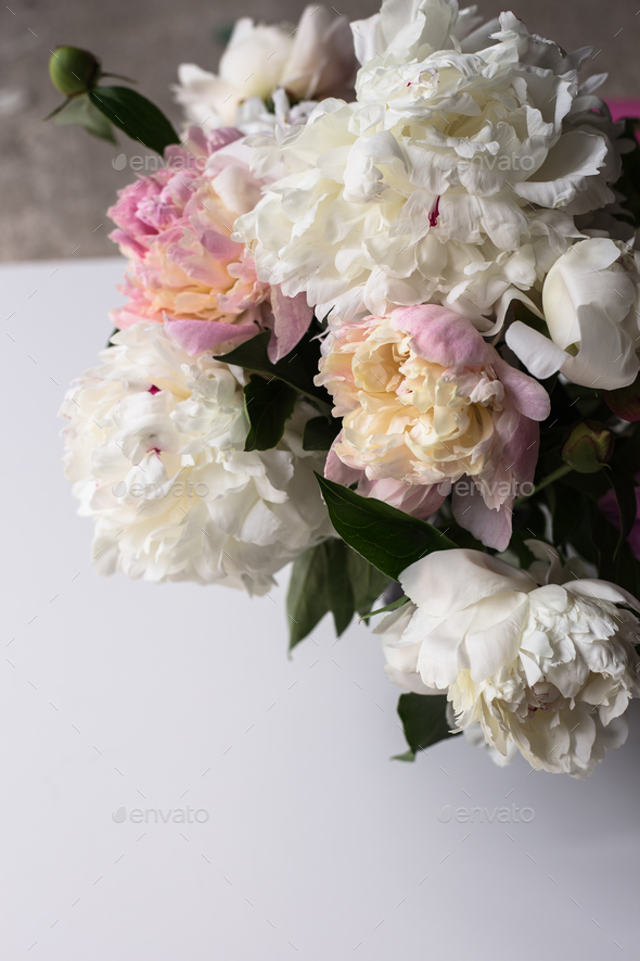 Beautiful bouquet of white and pink peonies - Stock Photo - Images