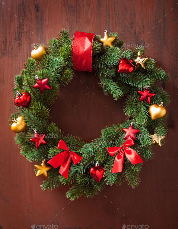christmas winter decoration wreath fir tree star - Stock Photo - Images