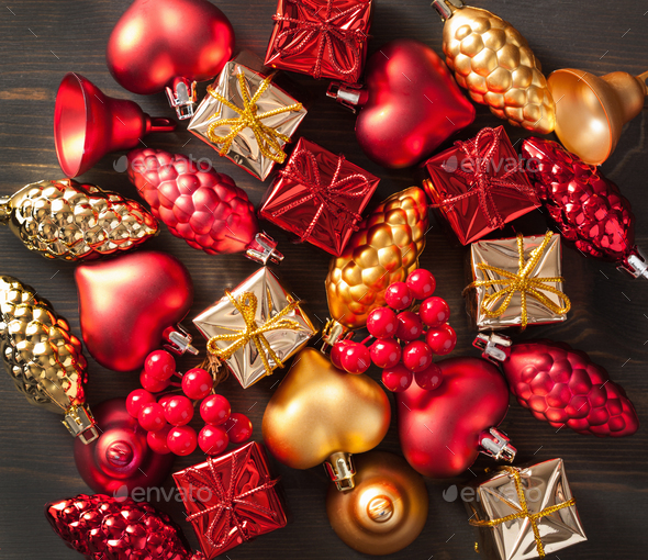 christmas gift box and decoration background - Stock Photo - Images