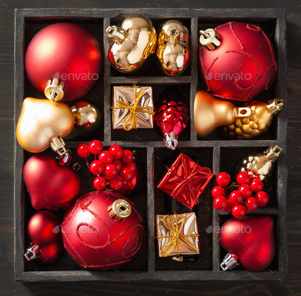 christmas gift and decoration in wooden box - Stock Photo - Images