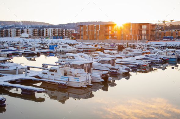 Winter view of a marina in Trondheim Grilstad - Stock Photo - Images