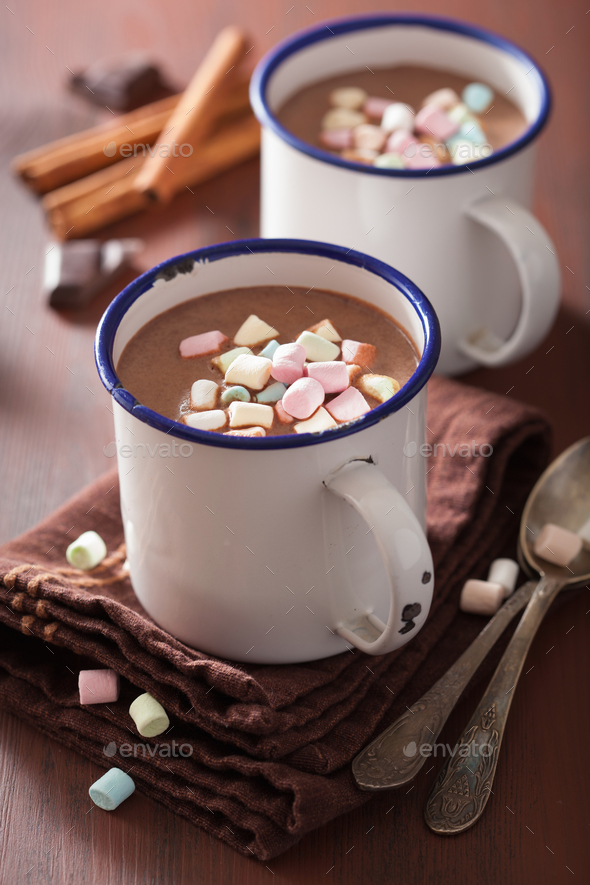 hot chocolate with mini marshmallows cinnamon winter drink - Stock Photo - Images