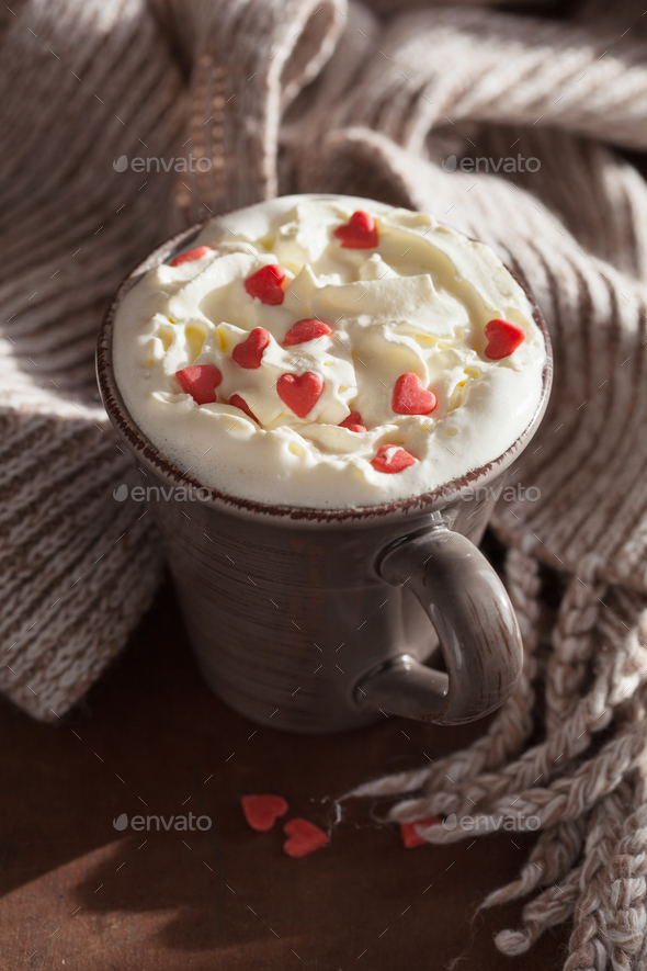 cup of coffee with whipped cream and red hearts - Stock Photo - Images