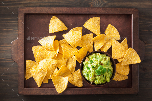 mexican guacamole dip and nachos tortilla chips - Stock Photo - Images