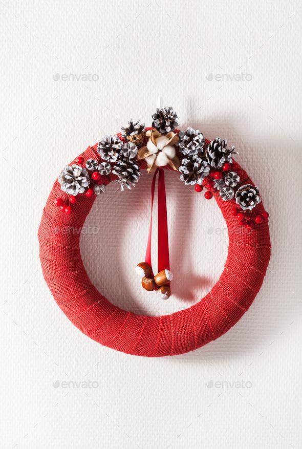 red christmas wreath handmade diy - Stock Photo - Images