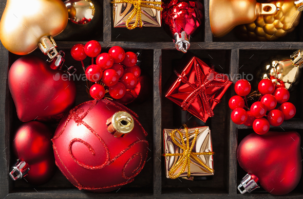 red and golden christmas gift box and decoration lantern candle - Stock Photo - Images