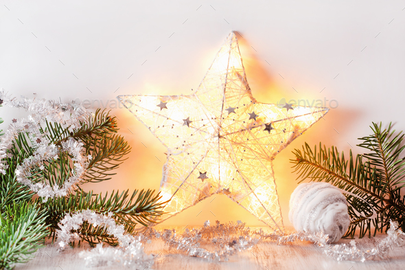 White silver christmas gift decoration - Stock Photo - Images