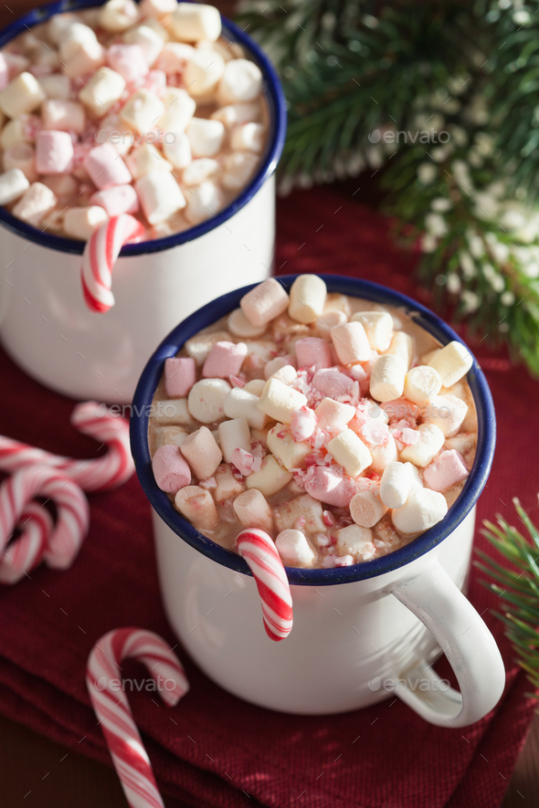 hot chocolate with mini marshmallow candy cane - Stock Photo - Images