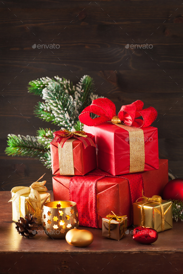 christmas gift box and decoration light - Stock Photo - Images