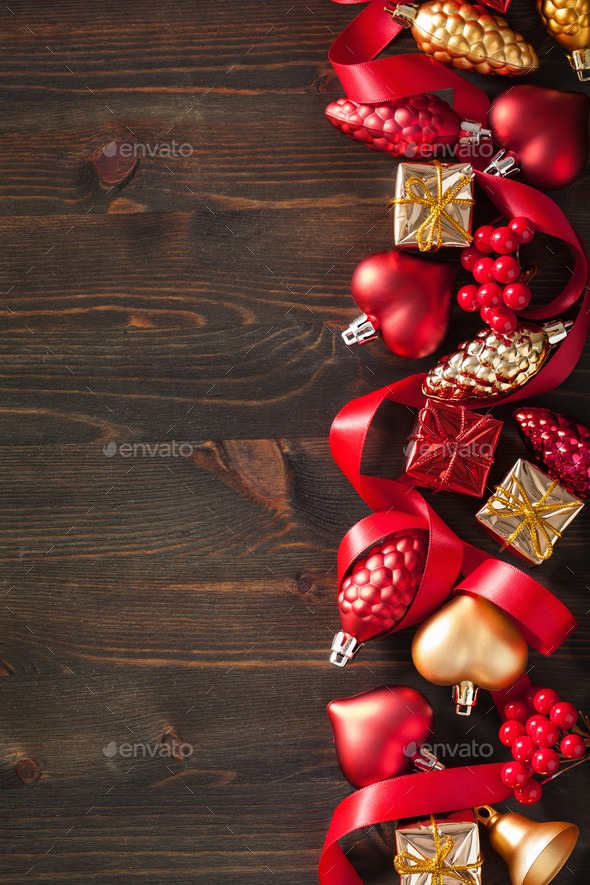 christmas gift box and decoration background frame - Stock Photo - Images