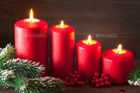 christmas advent candles lantern decoration - Stock Photo - Images