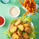 vegan soy nuggets and sweet potato fries healthy meal - PhotoDune Item for Sale