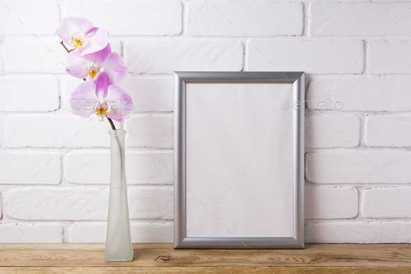 Silver frame mockup with tender pink orchid - Stock Photo - Images