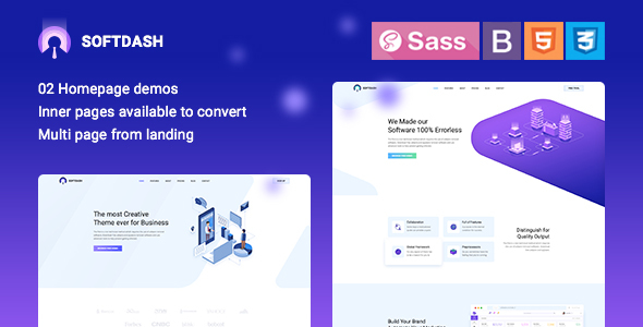 Softdash - Creative SaaS and Software HTML5 Template - Technology Site Templates